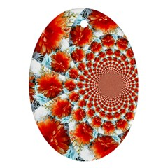 Stylish Background With Flowers Oval Ornament (two Sides)