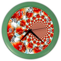 Stylish Background With Flowers Color Wall Clocks
