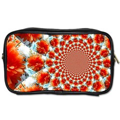 Stylish Background With Flowers Toiletries Bags 2 Side