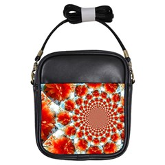 Stylish Background With Flowers Girls Sling Bags