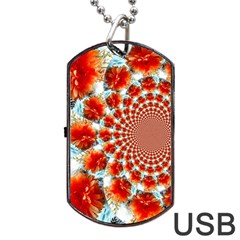 Stylish Background With Flowers Dog Tag Usb Flash (two Sides)