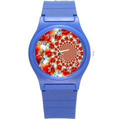 Stylish Background With Flowers Round Plastic Sport Watch (S)