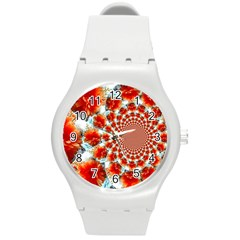 Stylish Background With Flowers Round Plastic Sport Watch (M)