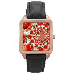 Stylish Background With Flowers Rose Gold Leather Watch