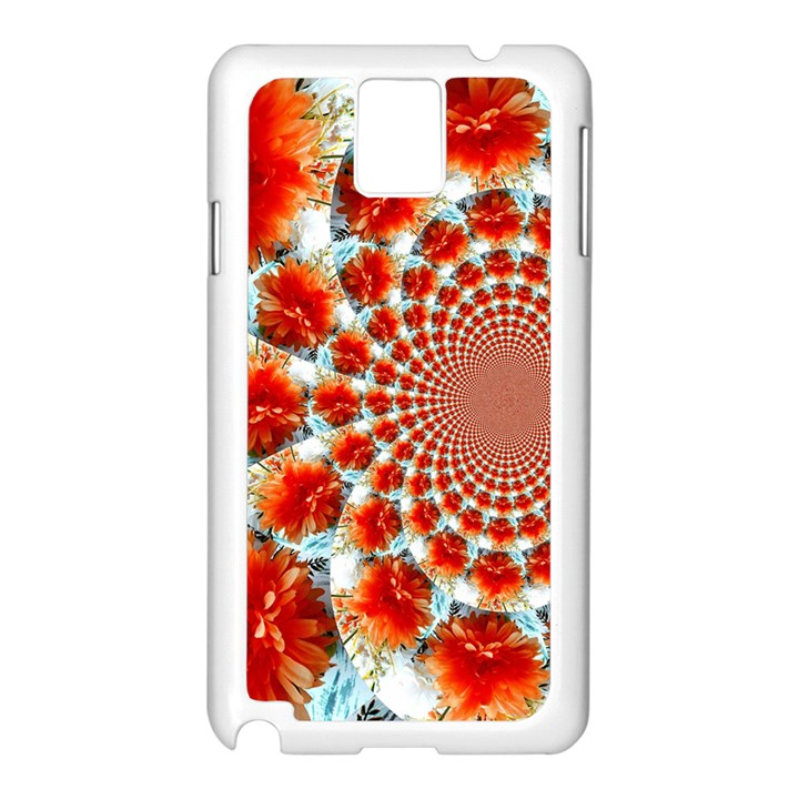 Stylish Background With Flowers Samsung Galaxy Note 3 N9005 Case (White)