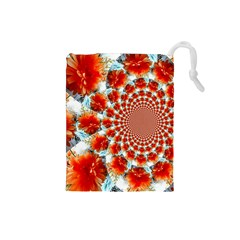 Stylish Background With Flowers Drawstring Pouches (small)