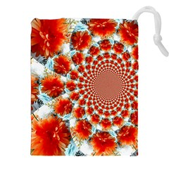 Stylish Background With Flowers Drawstring Pouches (XXL)