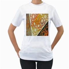 Abstract Starburst Background Wallpaper Of Metal Starburst Decoration With Orange And Yellow Back Women s T Shirt (white) (two Sided)