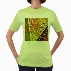 Abstract Starburst Background Wallpaper Of Metal Starburst Decoration With Orange And Yellow Back Women s Green T Shirt