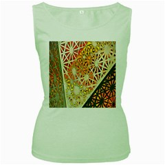 Abstract Starburst Background Wallpaper Of Metal Starburst Decoration With Orange And Yellow Back Women s Green Tank Top