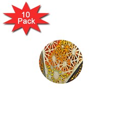 Abstract Starburst Background Wallpaper Of Metal Starburst Decoration With Orange And Yellow Back 1  Mini Magnet (10 pack)