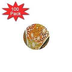 Abstract Starburst Background Wallpaper Of Metal Starburst Decoration With Orange And Yellow Back 1  Mini Magnets (100 Pack)