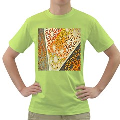 Abstract Starburst Background Wallpaper Of Metal Starburst Decoration With Orange And Yellow Back Green T Shirt