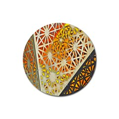 Abstract Starburst Background Wallpaper Of Metal Starburst Decoration With Orange And Yellow Back Rubber Coaster (Round)