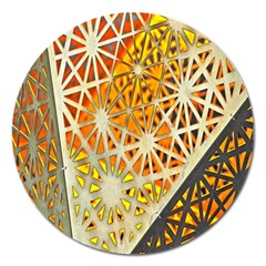 Abstract Starburst Background Wallpaper Of Metal Starburst Decoration With Orange And Yellow Back Magnet 5  (round)