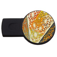 Abstract Starburst Background Wallpaper Of Metal Starburst Decoration With Orange And Yellow Back Usb Flash Drive Round (2 Gb)