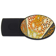 Abstract Starburst Background Wallpaper Of Metal Starburst Decoration With Orange And Yellow Back USB Flash Drive Oval (1 GB)
