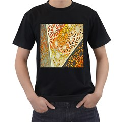 Abstract Starburst Background Wallpaper Of Metal Starburst Decoration With Orange And Yellow Back Men s T-Shirt (Black) (Two Sided)