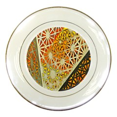Abstract Starburst Background Wallpaper Of Metal Starburst Decoration With Orange And Yellow Back Porcelain Plates