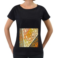 Abstract Starburst Background Wallpaper Of Metal Starburst Decoration With Orange And Yellow Back Women s Loose-Fit T-Shirt (Black)
