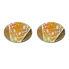 Abstract Starburst Background Wallpaper Of Metal Starburst Decoration With Orange And Yellow Back Cufflinks (oval)