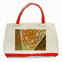 Abstract Starburst Background Wallpaper Of Metal Starburst Decoration With Orange And Yellow Back Classic Tote Bag (red)