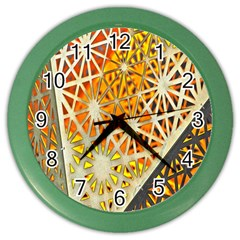 Abstract Starburst Background Wallpaper Of Metal Starburst Decoration With Orange And Yellow Back Color Wall Clocks
