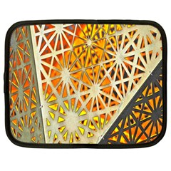 Abstract Starburst Background Wallpaper Of Metal Starburst Decoration With Orange And Yellow Back Netbook Case (large)
