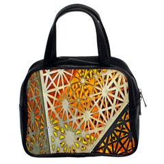 Abstract Starburst Background Wallpaper Of Metal Starburst Decoration With Orange And Yellow Back Classic Handbags (2 Sides)
