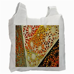 Abstract Starburst Background Wallpaper Of Metal Starburst Decoration With Orange And Yellow Back Recycle Bag (two Side)