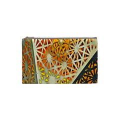Abstract Starburst Background Wallpaper Of Metal Starburst Decoration With Orange And Yellow Back Cosmetic Bag (small)