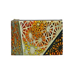 Abstract Starburst Background Wallpaper Of Metal Starburst Decoration With Orange And Yellow Back Cosmetic Bag (Medium)