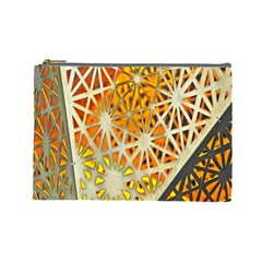 Abstract Starburst Background Wallpaper Of Metal Starburst Decoration With Orange And Yellow Back Cosmetic Bag (large)