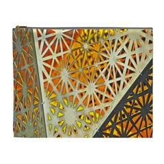 Abstract Starburst Background Wallpaper Of Metal Starburst Decoration With Orange And Yellow Back Cosmetic Bag (XL)