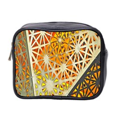 Abstract Starburst Background Wallpaper Of Metal Starburst Decoration With Orange And Yellow Back Mini Toiletries Bag 2-Side