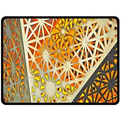 Abstract Starburst Background Wallpaper Of Metal Starburst Decoration With Orange And Yellow Back Fleece Blanket (Large)