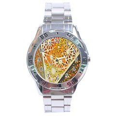 Abstract Starburst Background Wallpaper Of Metal Starburst Decoration With Orange And Yellow Back Stainless Steel Analogue Watch