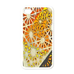 Abstract Starburst Background Wallpaper Of Metal Starburst Decoration With Orange And Yellow Back Apple iPhone 4 Case (White)