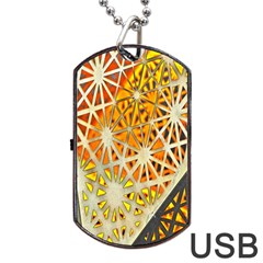 Abstract Starburst Background Wallpaper Of Metal Starburst Decoration With Orange And Yellow Back Dog Tag USB Flash (Two Sides)
