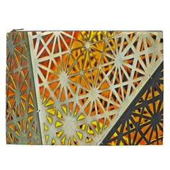 Abstract Starburst Background Wallpaper Of Metal Starburst Decoration With Orange And Yellow Back Cosmetic Bag (XXL)