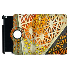 Abstract Starburst Background Wallpaper Of Metal Starburst Decoration With Orange And Yellow Back Apple iPad 2 Flip 360 Case
