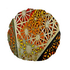 Abstract Starburst Background Wallpaper Of Metal Starburst Decoration With Orange And Yellow Back Standard 15  Premium Round Cushions