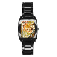 Abstract Starburst Background Wallpaper Of Metal Starburst Decoration With Orange And Yellow Back Stainless Steel Barrel Watch