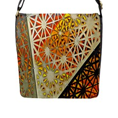 Abstract Starburst Background Wallpaper Of Metal Starburst Decoration With Orange And Yellow Back Flap Messenger Bag (L)