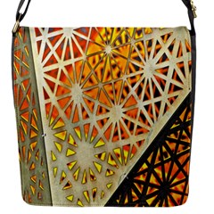 Abstract Starburst Background Wallpaper Of Metal Starburst Decoration With Orange And Yellow Back Flap Messenger Bag (S)