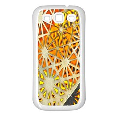 Abstract Starburst Background Wallpaper Of Metal Starburst Decoration With Orange And Yellow Back Samsung Galaxy S3 Back Case (White)