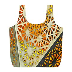Abstract Starburst Background Wallpaper Of Metal Starburst Decoration With Orange And Yellow Back Full Print Recycle Bags (l)