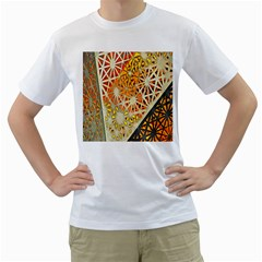 Abstract Starburst Background Wallpaper Of Metal Starburst Decoration With Orange And Yellow Back Men s T Shirt (white)