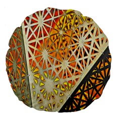 Abstract Starburst Background Wallpaper Of Metal Starburst Decoration With Orange And Yellow Back Large 18  Premium Flano Round Cushions