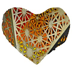 Abstract Starburst Background Wallpaper Of Metal Starburst Decoration With Orange And Yellow Back Large 19  Premium Flano Heart Shape Cushions
